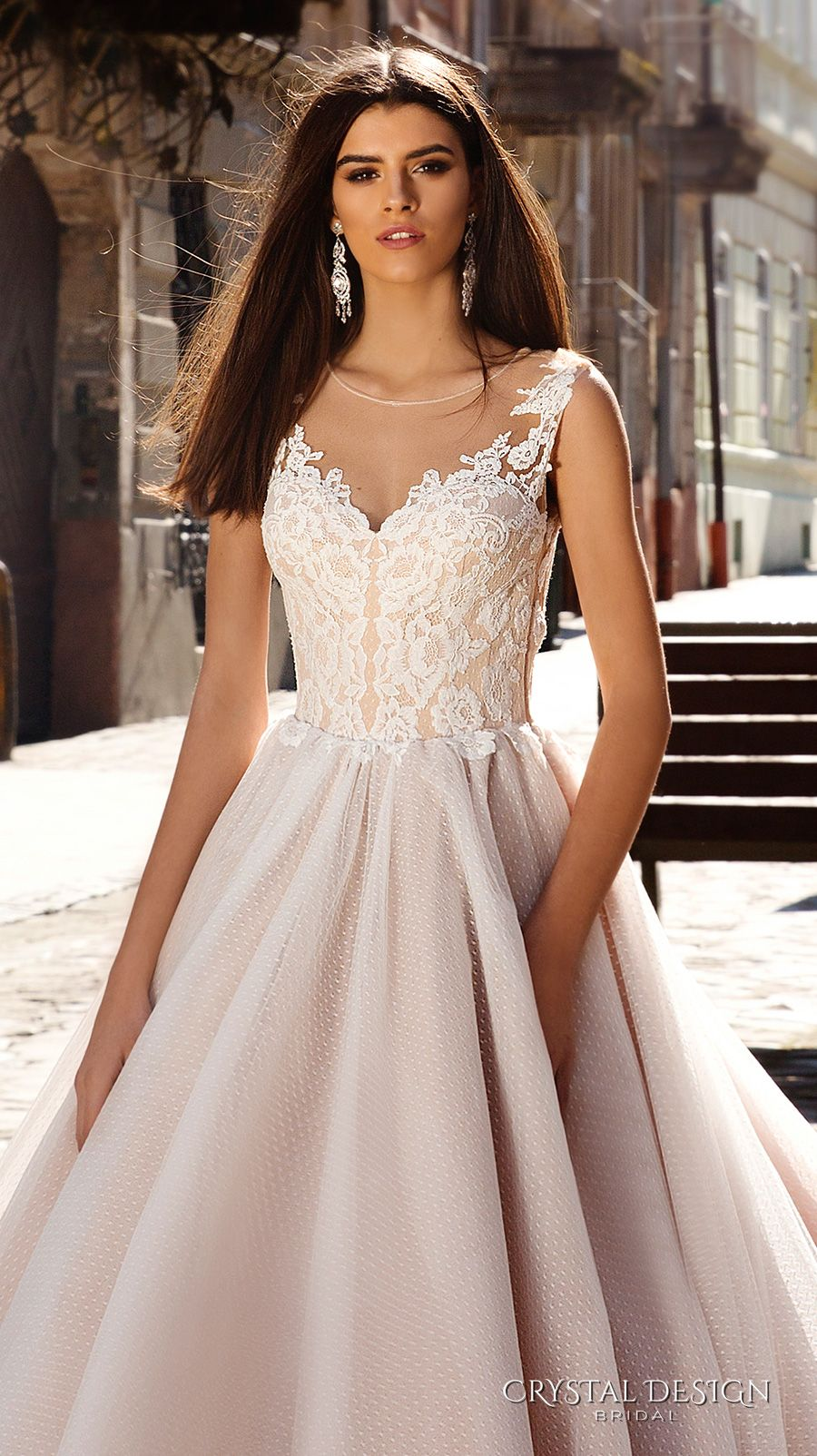 Wedding Dresses With Illusion Bodice : Crystal design wedding dresses chapel train