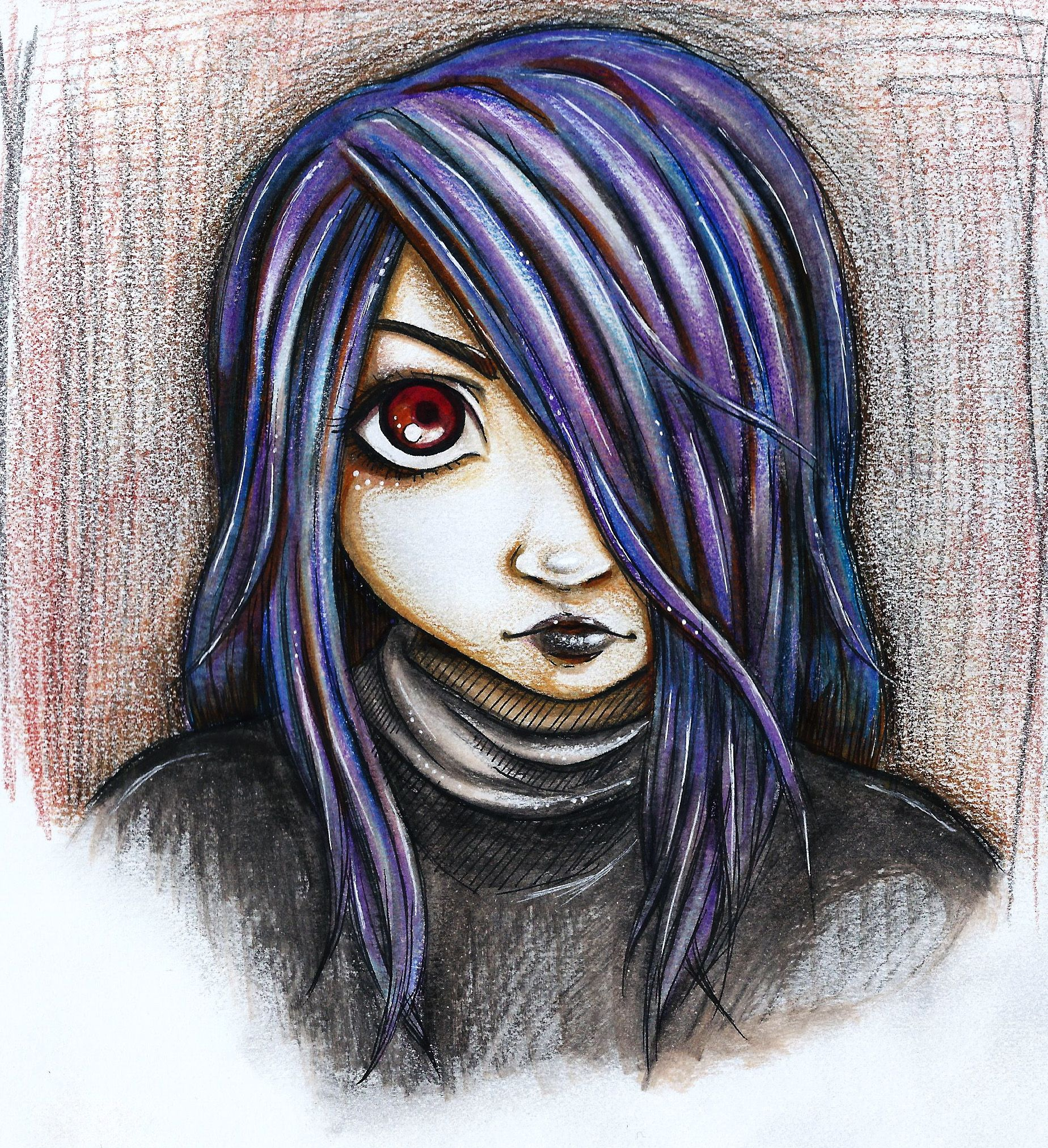 Gothic Witch Girl Drawing Illustration Art Cartoon Purple Hair Red Eyes Black Lips Goth