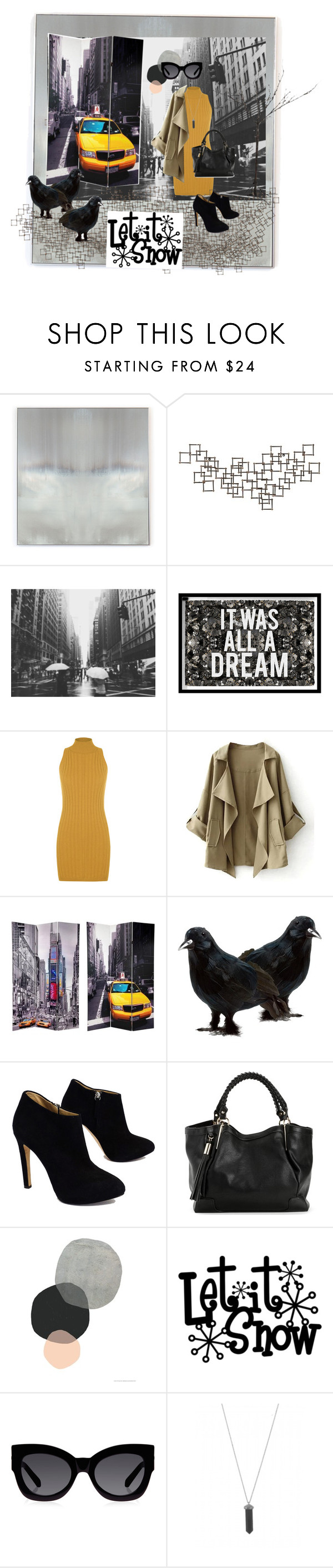"""""""Nyc style"""" by natileeeee ❤ liked on Polyvore featuring Benson-Cobb Studios, Crate and Barrel, Oliver Gal Artist Co., WearAll, TAXI, Giuseppe Zanotti, Karen Walker and Karen Kane"""