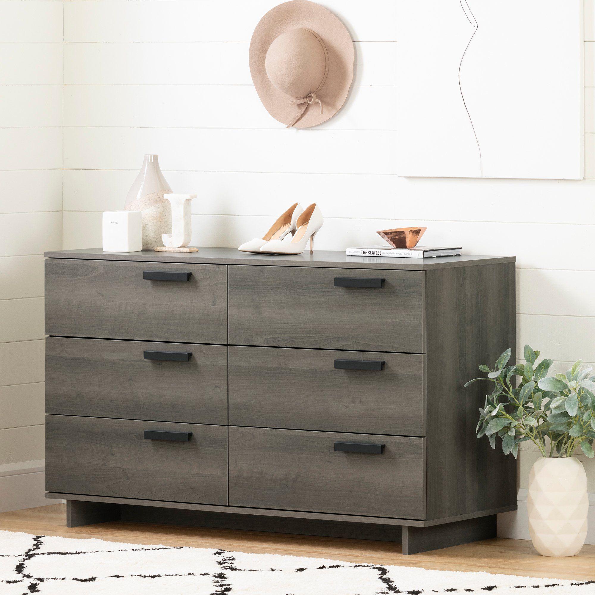 Modern Gray Maple 6 Drawer Double Furniture Dresser Storage Dresser [ 2000 x 2000 Pixel ]