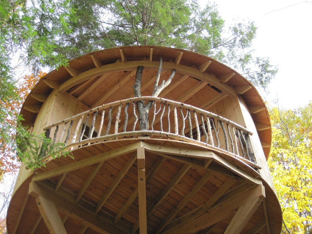 Step-by-step photos of this round treehouse with a branch railing.