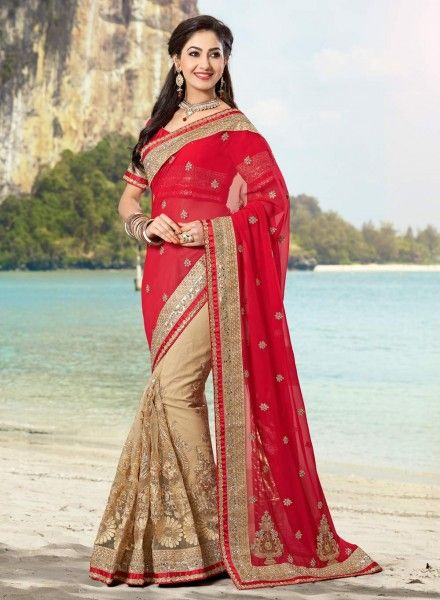 Red & Beige half n half Indian saree with blouse E15190