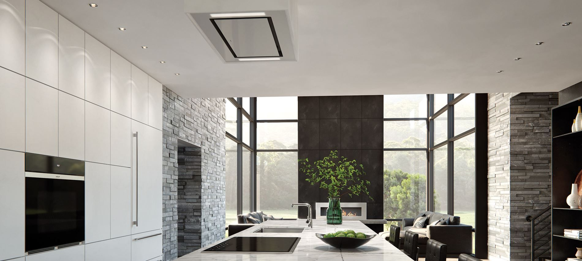 36 Ceiling Mounted Hood White Glass With Images Ceiling