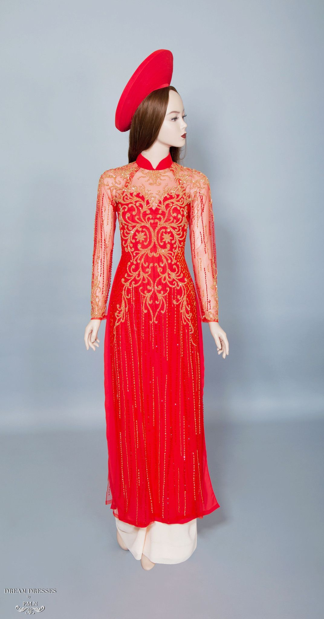 Red Ao Dai with Gold Embellishment | Vietnamese Bridal Dress (#DALYA ...