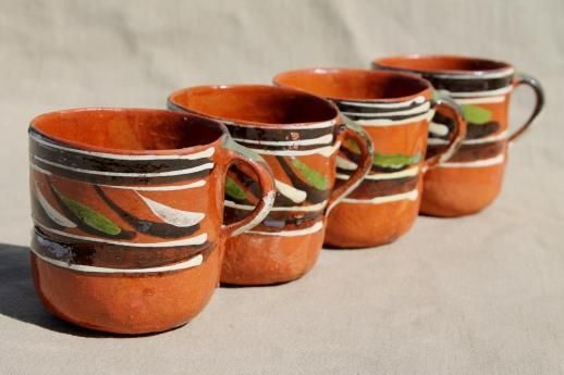 Vintage Mexican Pottery Coffee Mugs Or Chocolate Cups Hand Painted Terracotta
