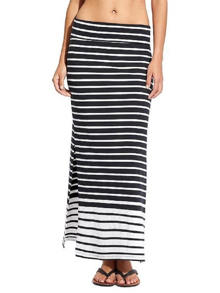 01ee127703 Athleta Seaside Navy Blue White Ombre Stripe Side Slit Jersey Maxi Skirt L  #fashion #clothing #shoes #accessories #womensclothing #skirts (ebay link)