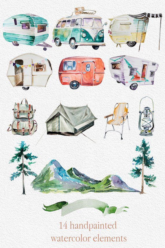 Watercolor Wanderlust Clipart Set Retro Vehicles Retro Camping