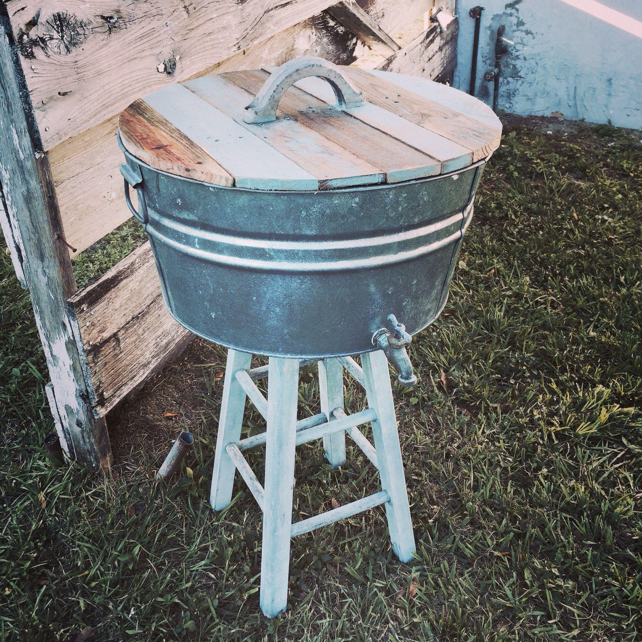 Galvanized tub into backyard ice bucket with images