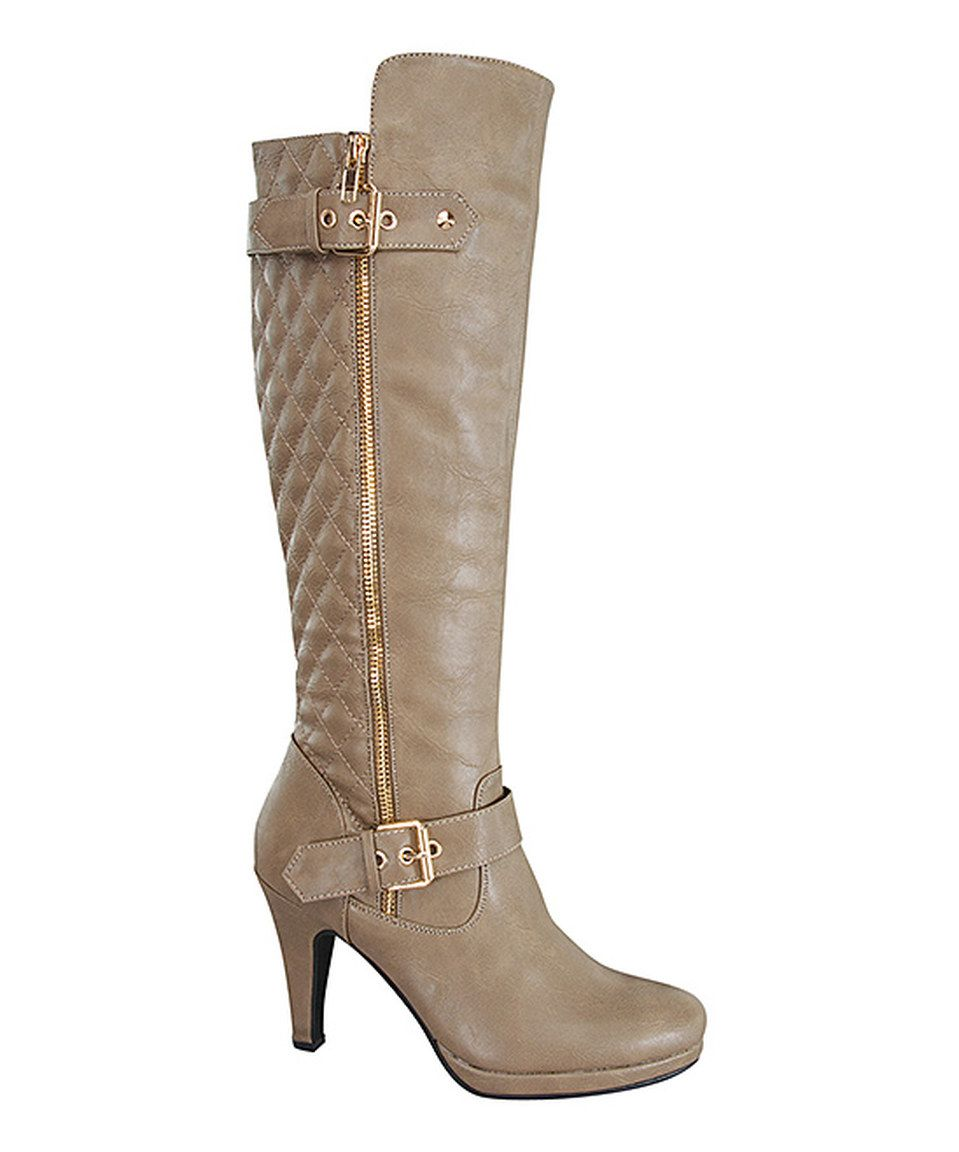 Love this Forever Link Shoes Taupe Ceci Quilted Boot by Forever Link Shoes on #zulily! #zulilyfinds