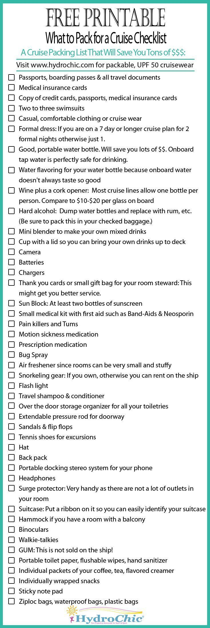 Printable checklist of what to pack for a cruise that will save you lots of $$$.