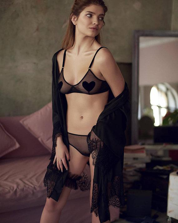195853fce sheer mesh lingerie set   transparent black underwear   women s intimates    handmade bralette   slip
