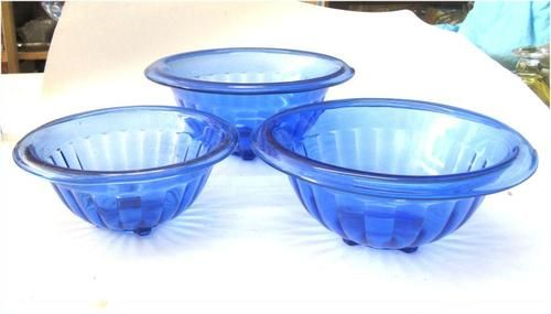 Hazel Atlas Cobalt Blue Depression Glass Nested Mixing Bowl Set of 3