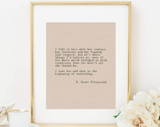 I Fell In Love With Her Courage F. Scott Fitzgerald Quote Printable Art  Print Typewriter