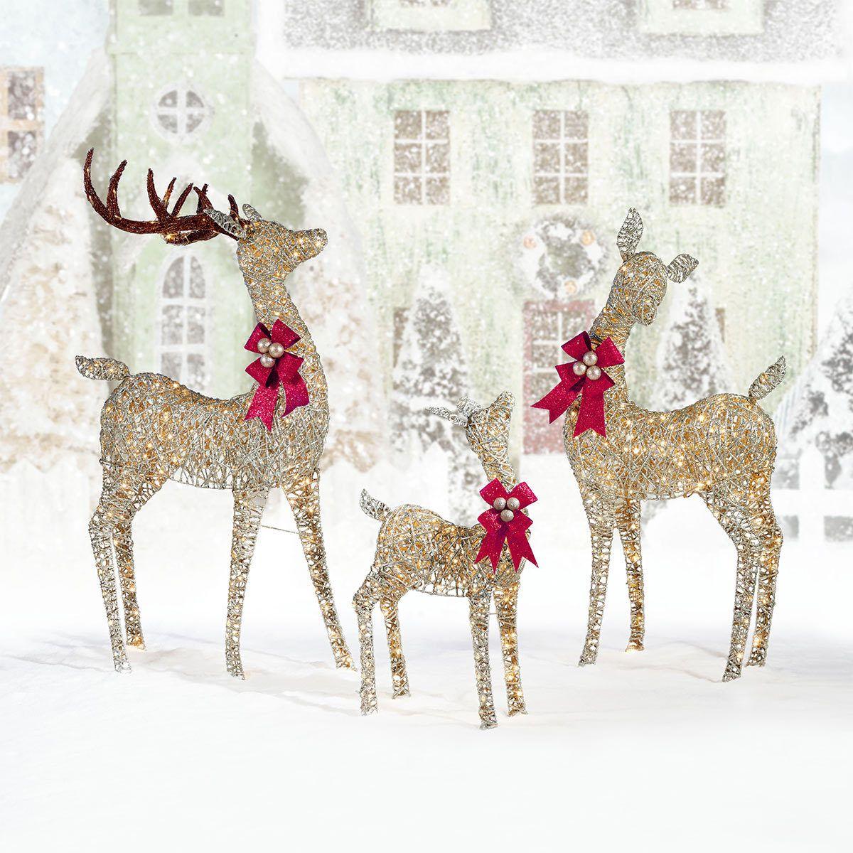 Indoor Outdoor Christmas Reindeer Family Set Of 3 With Led Lights Outdoor Christmas Reindeer Led Christmas Lights Reindeer Lights