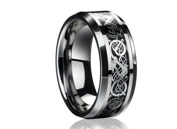 Valentine S Day Vintage Dragon Tungsten Steel Ring For Men Lord Wedding Anium Rings Band New Punk