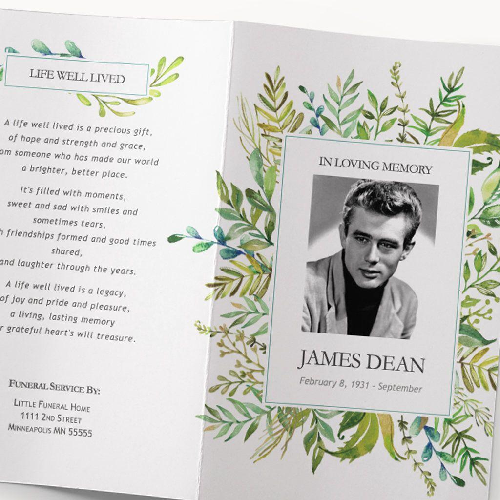 Funeral Program Template Leafy Watercolor Greenery Funeral Program