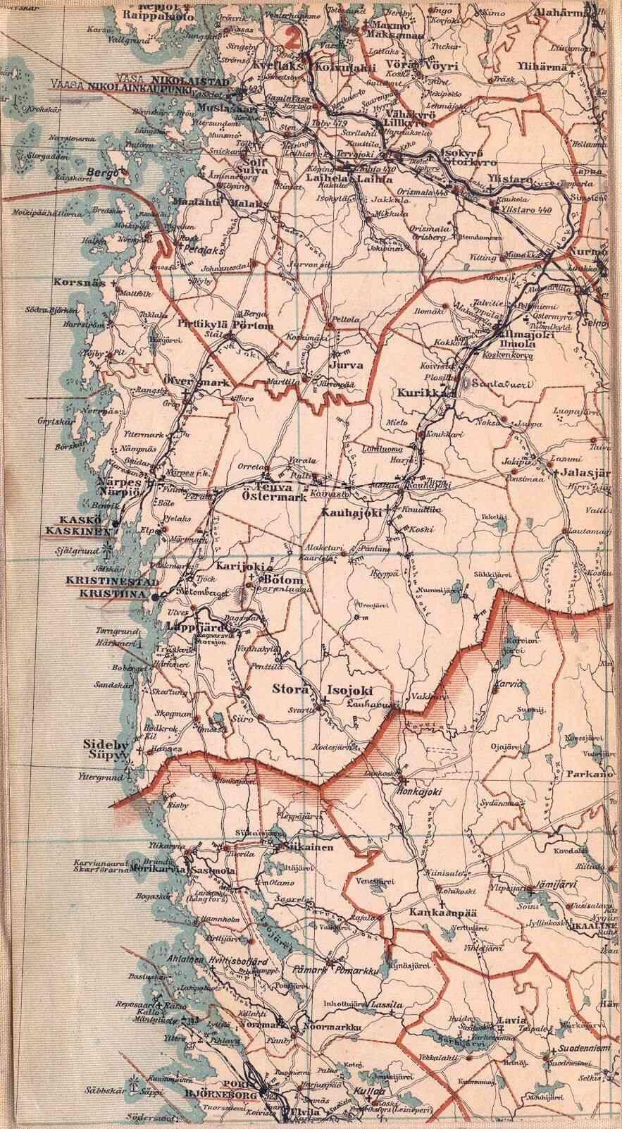 Suomenmaan kartta 1898 osa b2. Vaasa (Nikolaistad - Nikolainkaupunki)