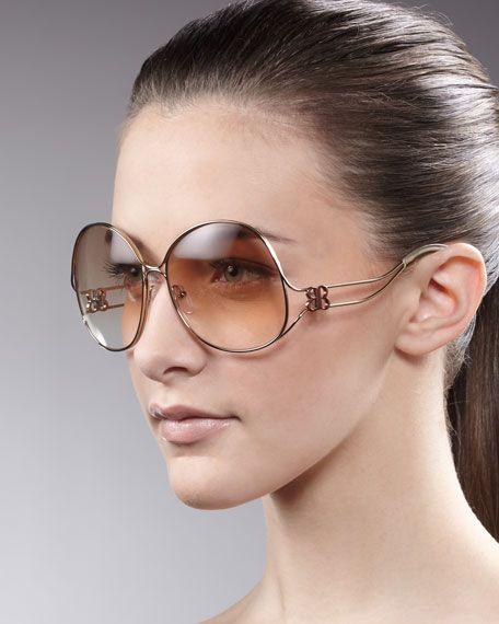 abbf793d2bc8a Balenciaga Oversized Metal-Arm Sunglasses