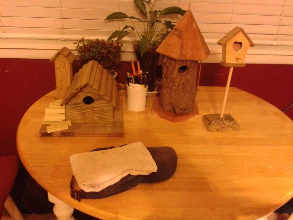 Beginning of my birdhouse construction.  All green.  All from someone's trash heap.