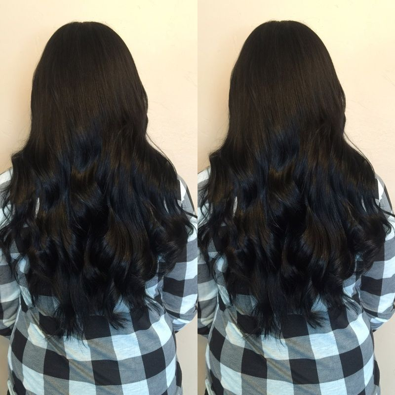 18 Inch Black Hair Extensions Done By Jandy Taylor Beaded Weft