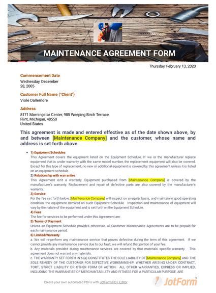 Standard Aircraft Maintenance Agreement