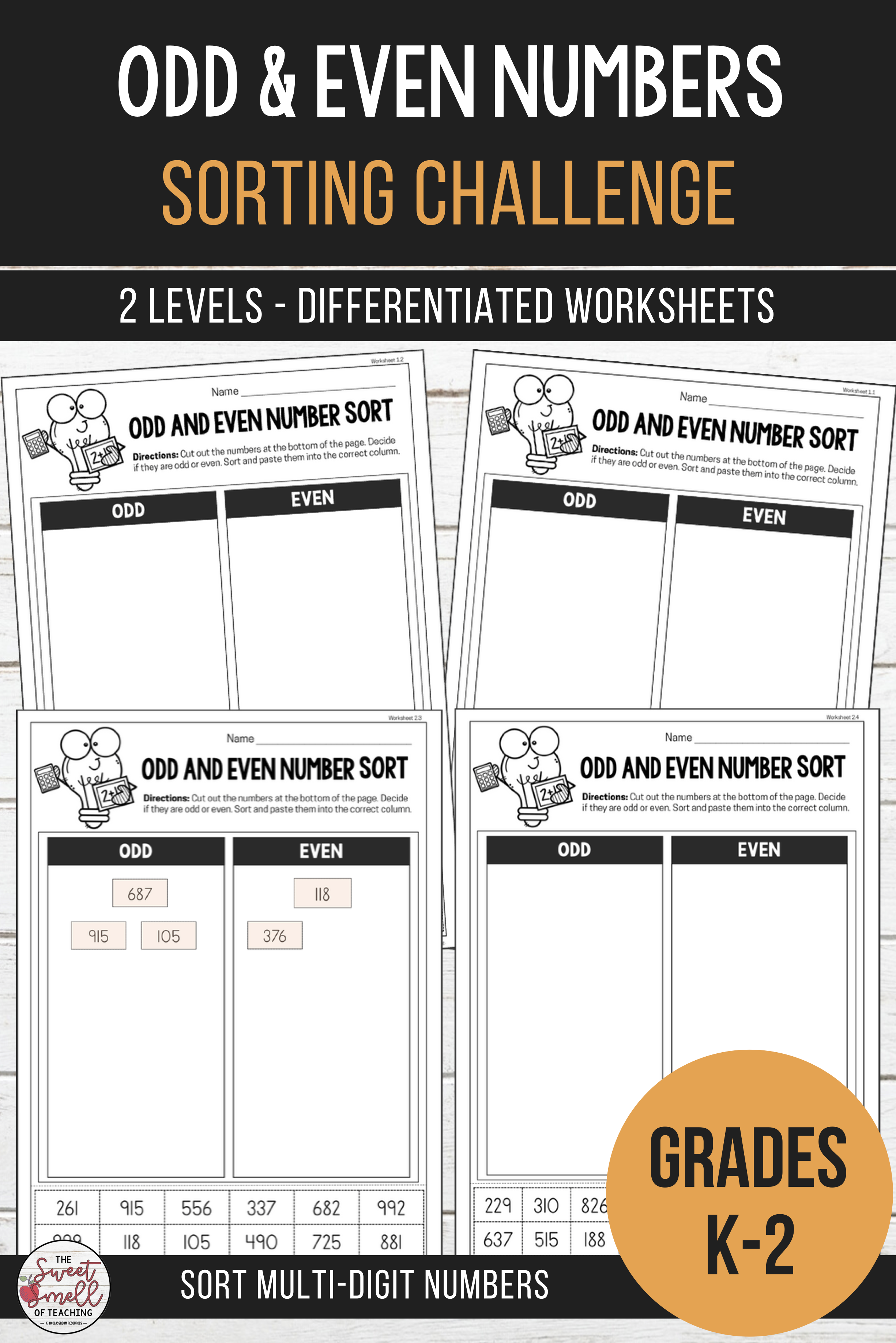 Odd And Even Number Sorting Differentiated Worksheets
