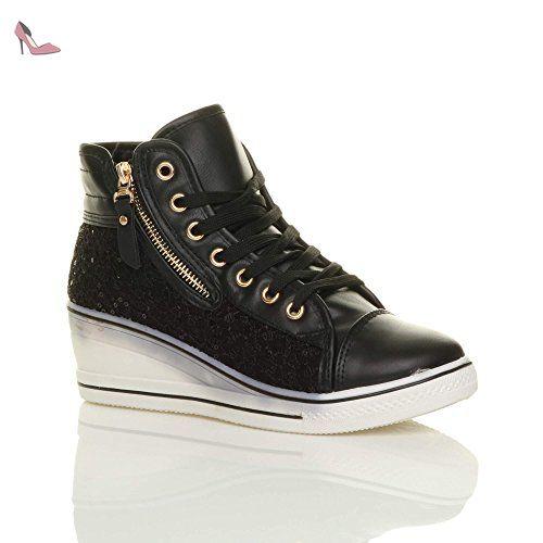 Femmes talon compensé moyen paillette baskets chaussures de tennis taille 7  40 - Chaussures ajvani ( 176aef0119e7