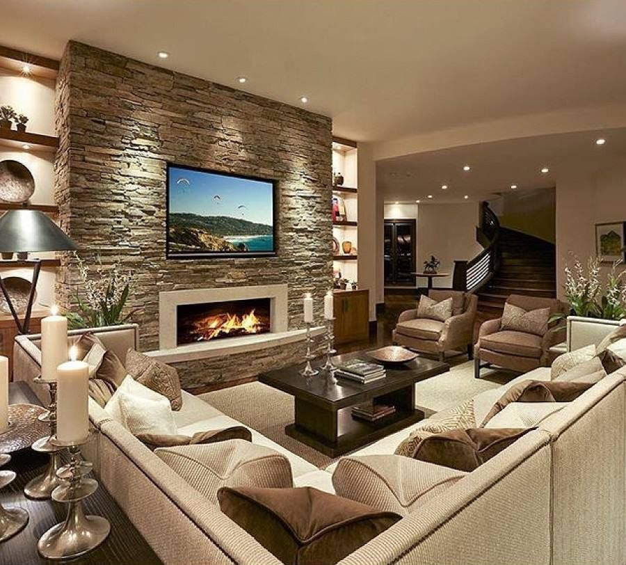 Lighting Accent Above The Stone Wall Living Room Interior, Home Interior  Design, Living Room