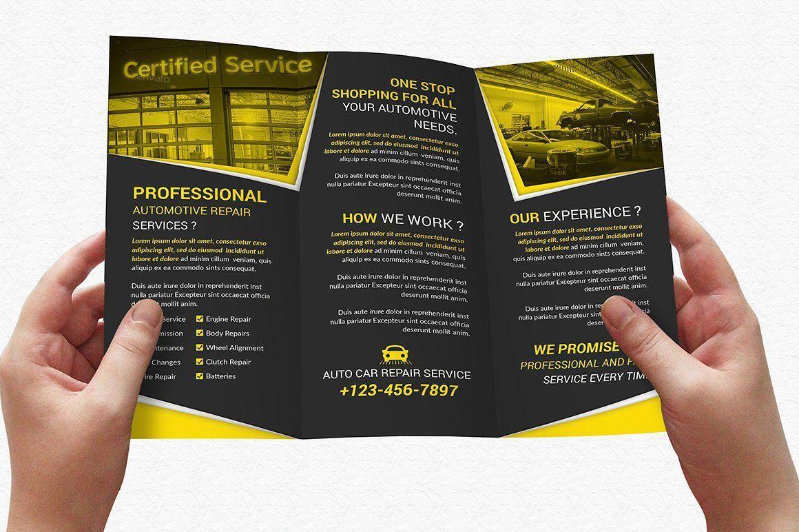 Auto repair service trifold brochure sizepsdfileinches