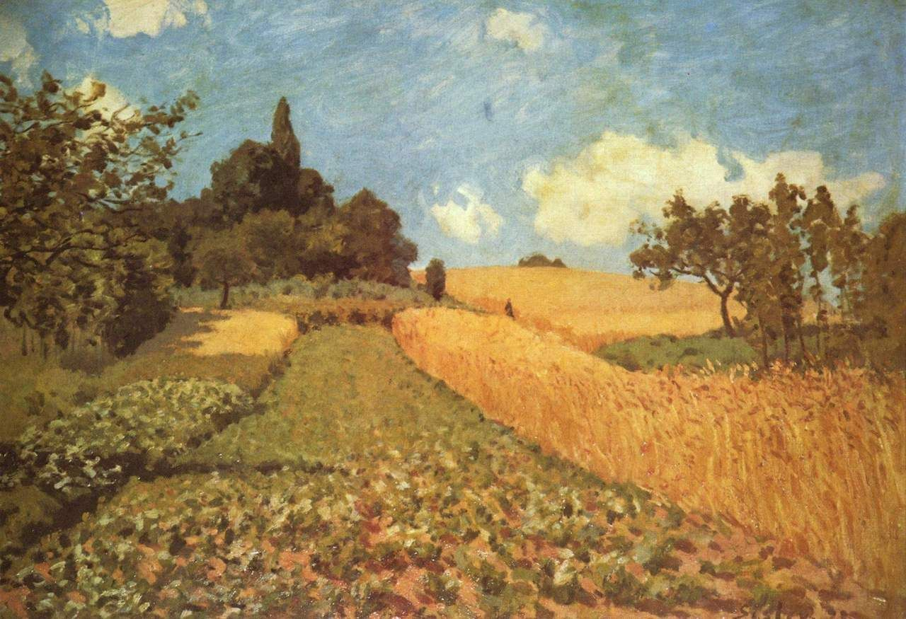 Landschaftsmalerei impressionismus  Cornfield via Alfred Sisley Size: 50.5x73 cm Medium: oil on canvas ...