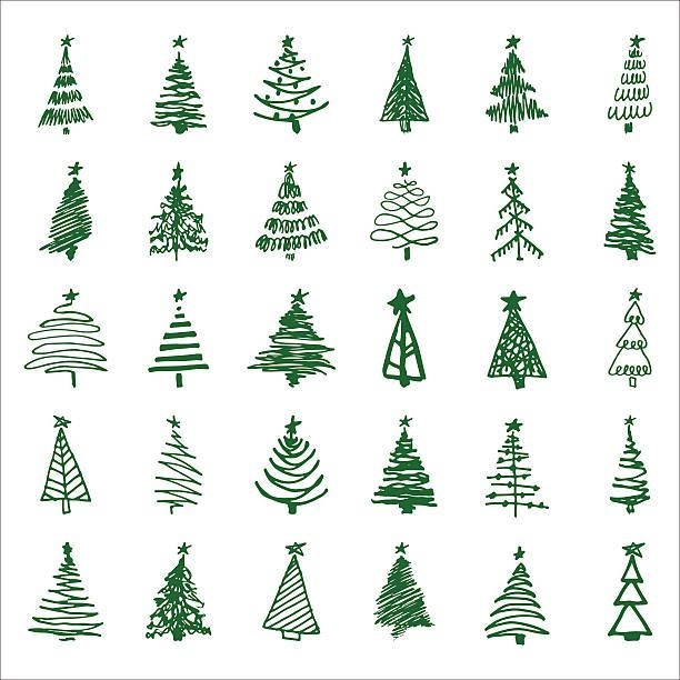 Set Hand Drawn Sketch Christmas And New Year Tree Vector Illustration Set Hand Drawn Sketch Christmas Tree Drawing Christmas Tree Sketch Christmas Doodles