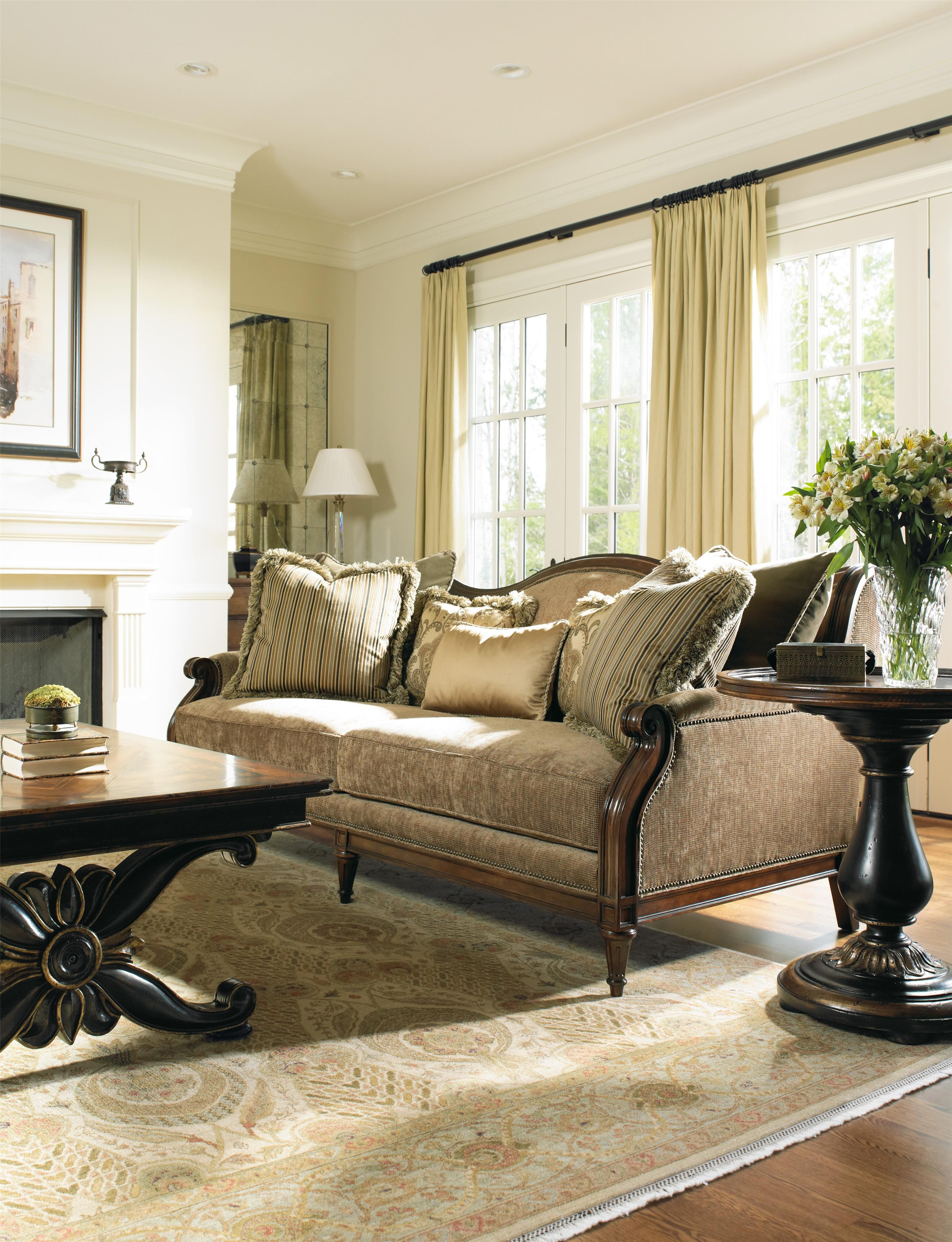 Grandover Camel Back Sofa With Exposed Wood Frame And Nailhead Trim By  Hooker Furniture   Gill Brothers Furniture   Sofa Muncie, Anderson, Madison  County, ...