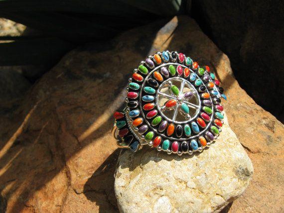 Southwestern  Turquoise Coral  Silver  Medallion by fleurdesignz, $36.00