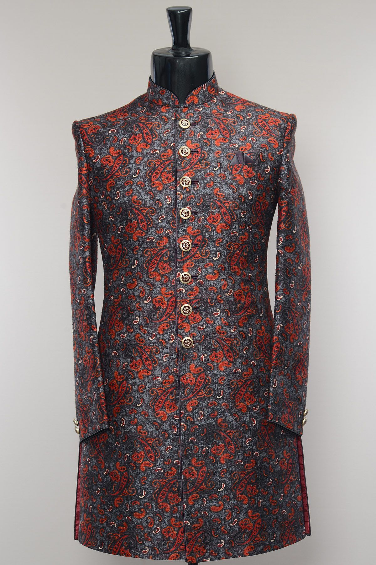 Samyakk grey u red printed silk indowestern sherwaniiw pocket