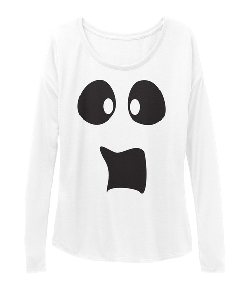 17fc95dc PleiWell Halloween Scared Ghost Face Women's Flowy Long Sleeve Tee Spooked  out ghost that looks like it just saw a ghost! Get in the spirit of  Halloween and ...