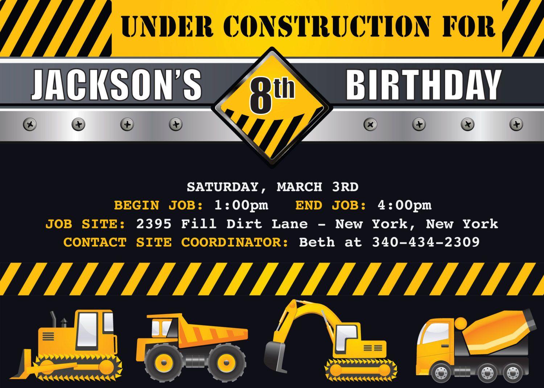 construction invitation - Google Search | Construction Party Ideas ...