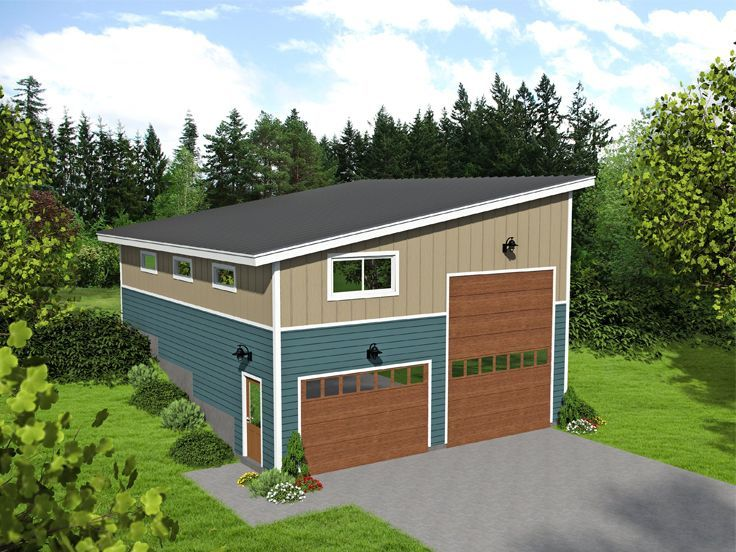 062G0099 Unique RV Garage Plan for Front Sloping Lot – Garage Plans With Rv Storage
