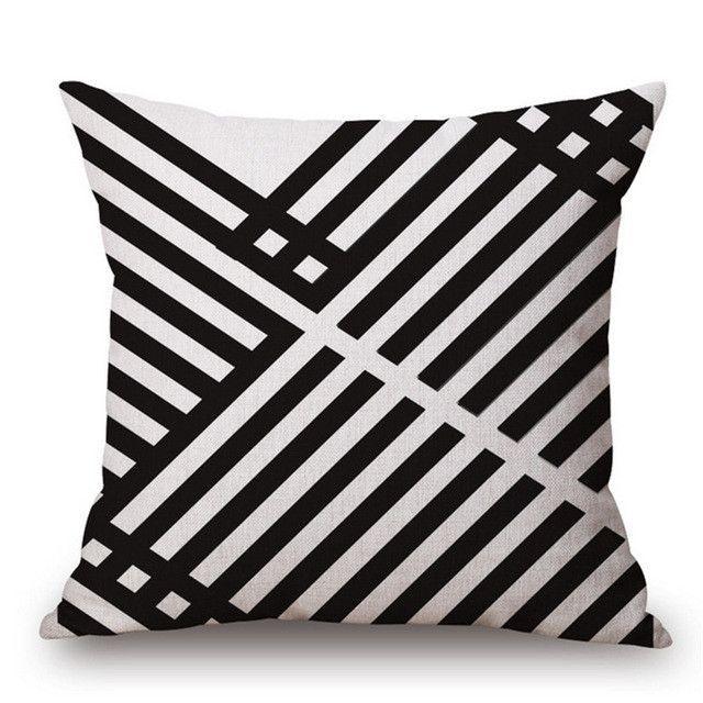 Black White Swiss Throw Cushion Cover