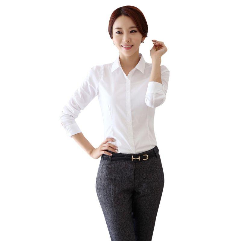 fashion White Shirt Women work wear Long Sleeve Tops Slim Women's ...