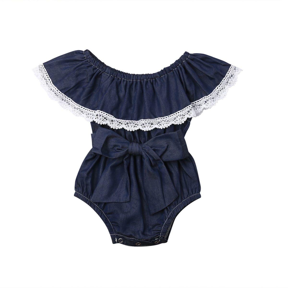f02c2d9d6b9fb Infant Kid Baby Girl Lace Floral Demin Bodysuit Romper Jumpsuit ...