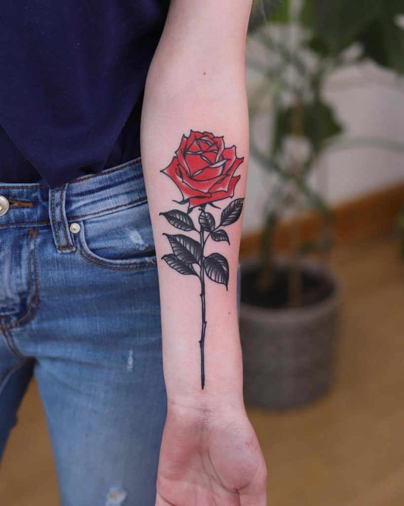 Traditional Style Red Rose With Black Leaves Tattoo On The Left Inner Forearm Realistic Rose Tattoo Rose Tattoo Forearm Black Rose Tattoos