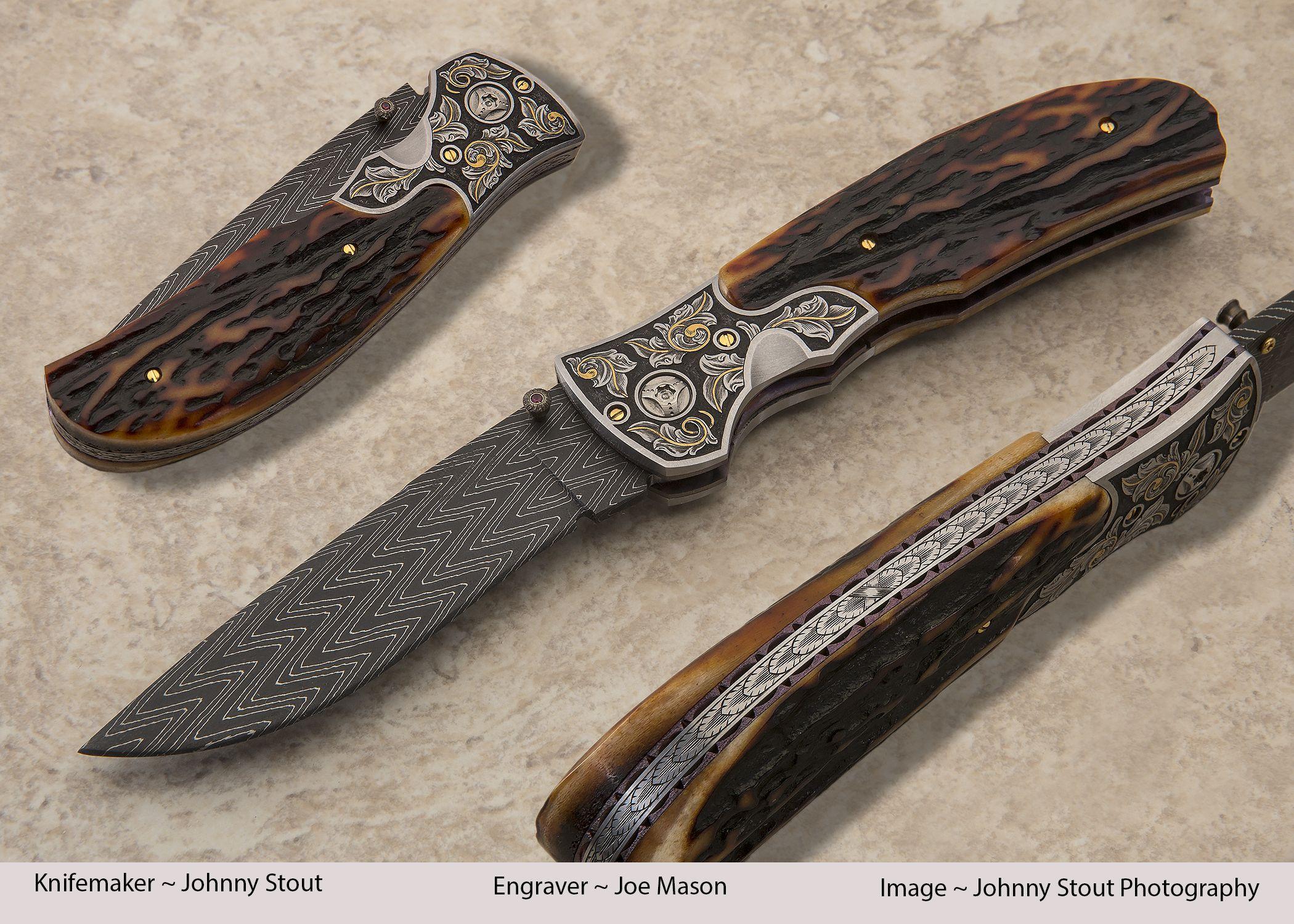 The monarch engraved by joe mason herringbone damascus by devin thomas handmade knivescustom