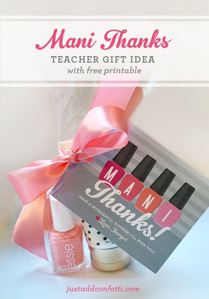 Secretary Christmas Gift Ideas Part - 22: Teacher Appreciation Gift Idea: U201cMani Thanksu201d Manicure Jar With Free  Printable Gift Tag   Appreciation Gifts, Manicure And Teacher
