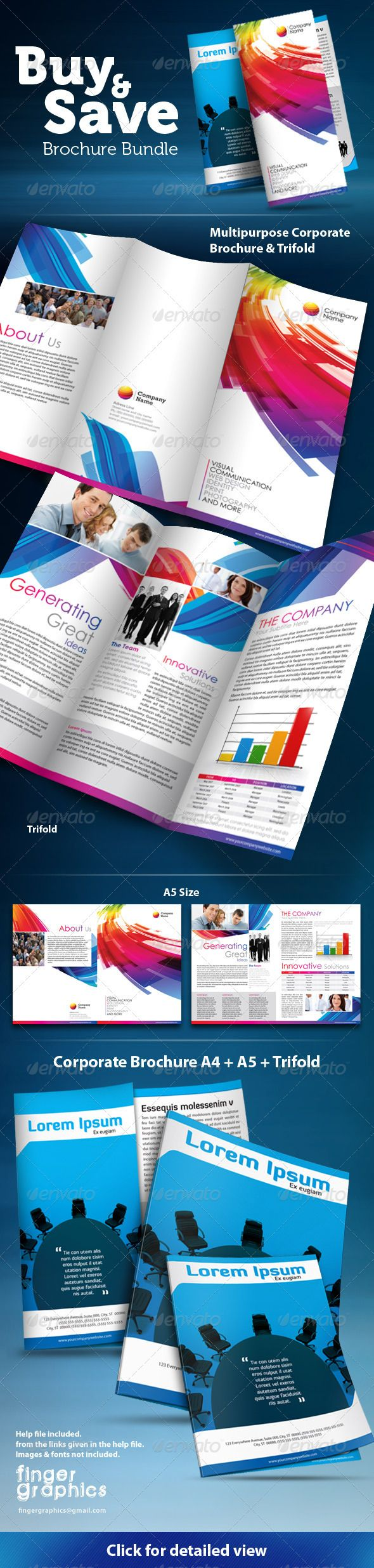 Multipurpose Brochure & Trifold Bundle — InDesign Template | Best ...