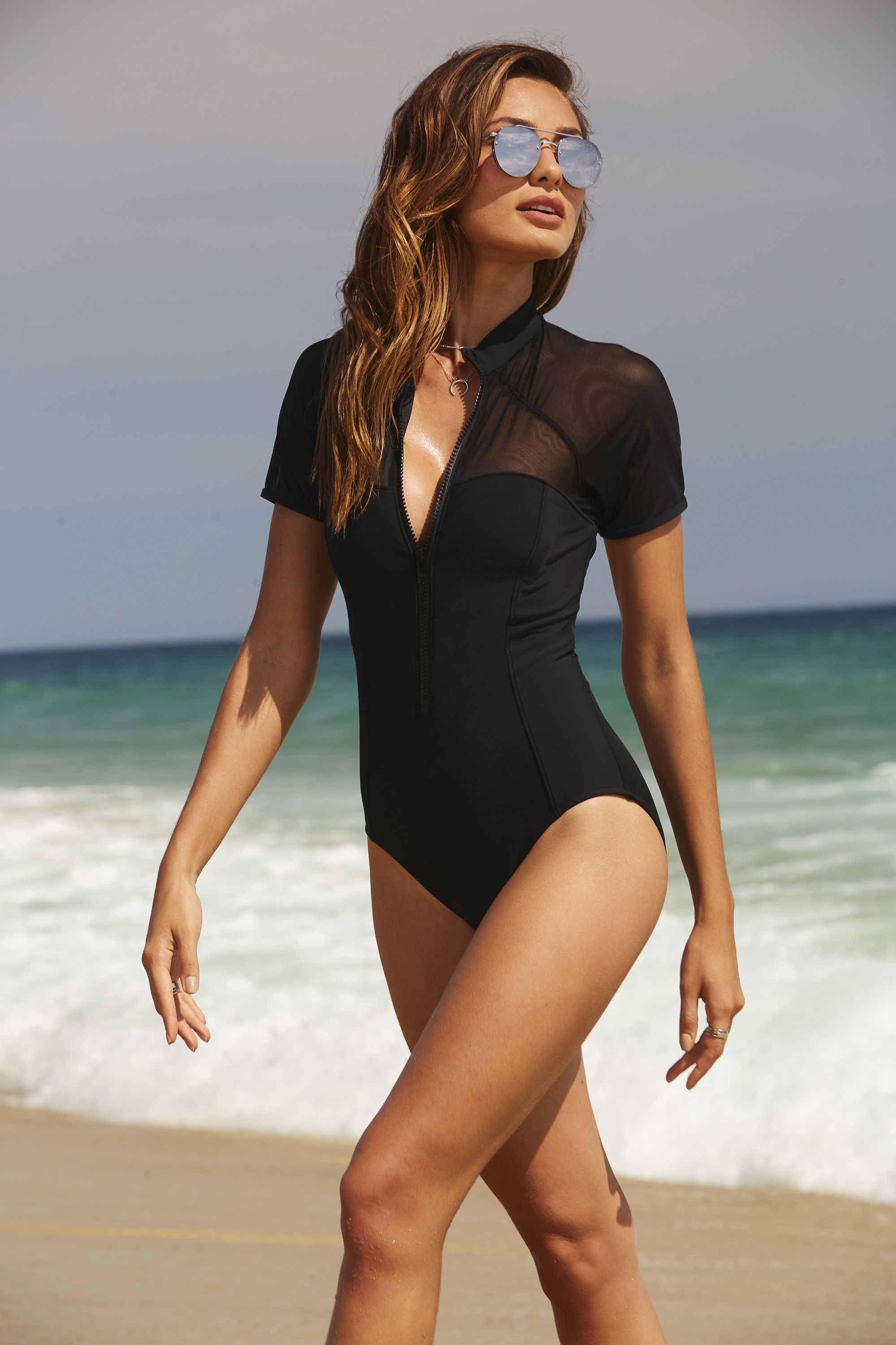 d667aa7955e0a Women s Short Sleeve Mesh One Piece Swimsuit by Boston Proper. Our latest  collection of swim has just arrived