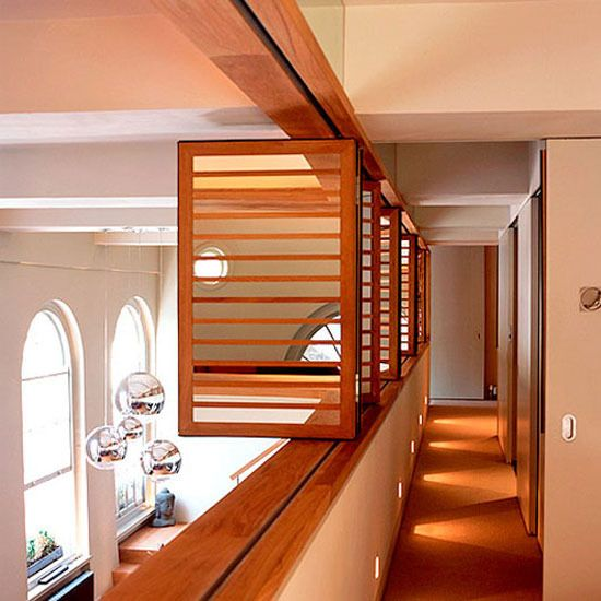 New home interior design modern hallway on a mezzanine floor use shutters to separate the - Mezzanine bedlamp ...