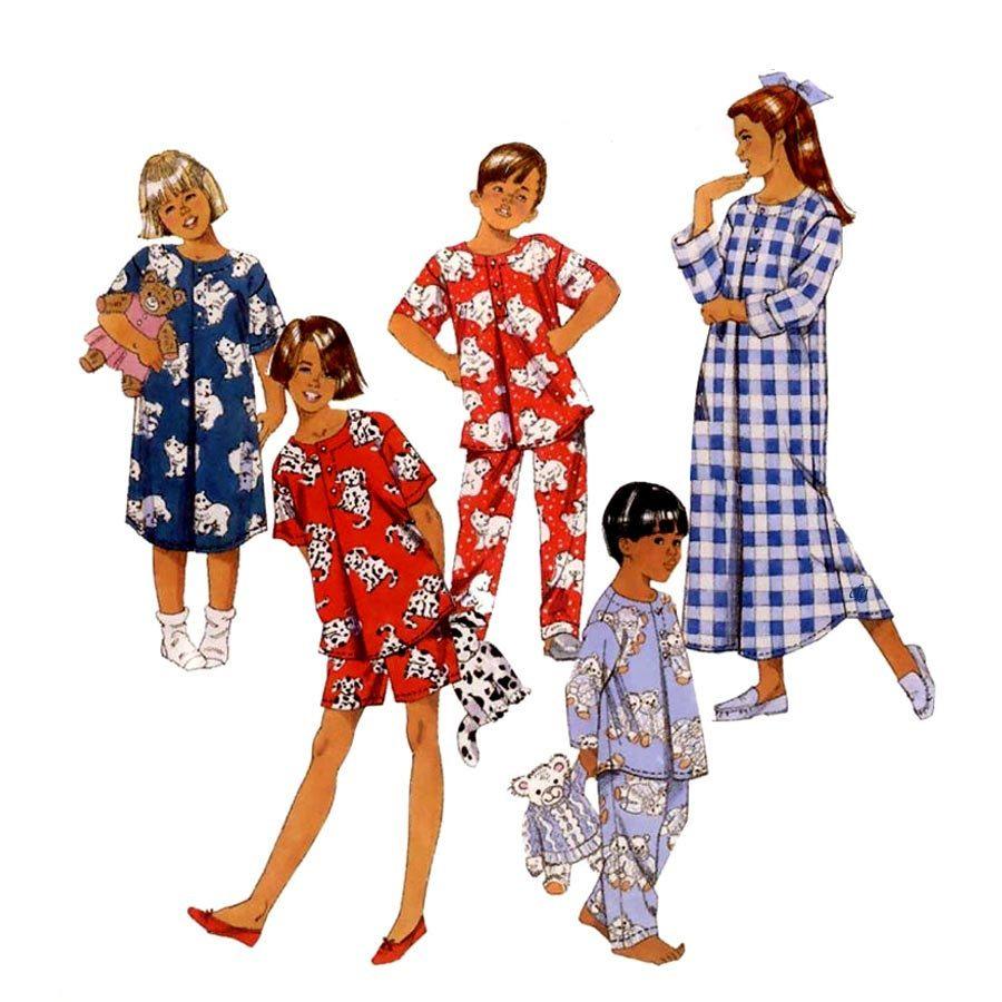 McCalls Boys Girls Hour Sleepware Pajamas Tops Pants