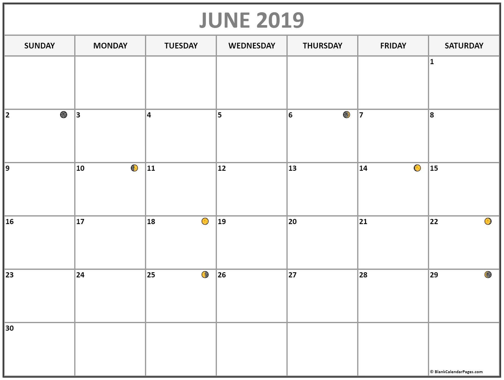 June Moon Calendar June Junecalendar Moonphases