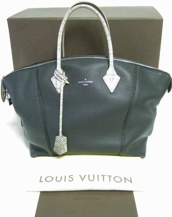 400800013941 AUTHENTIC LOUIS VUITTON SOFT LOCKIT MM BLACK LEATHER NATURAL PYTHON BAG+BOX RCPT   LouisVuitton  Handbag
