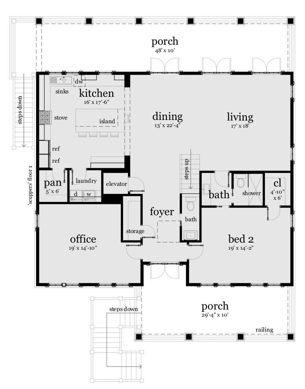 Beach Style House Plan 4 Beds 3 Baths 2810 Sq Ft Plan 901 114 Rectangle House Plans Beach Style House Plans Coastal House Plans